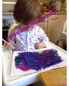 El mismo papel un rato más tarde... ¡siguió evolucionando su pintura hasta esto!